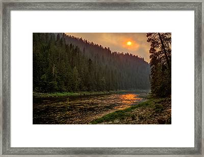 Forest Fire Sunset Framed Print