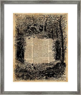 Forest Frame Dictionaryart Trees Ink Artwork  Framed Print by Jacob Kuch