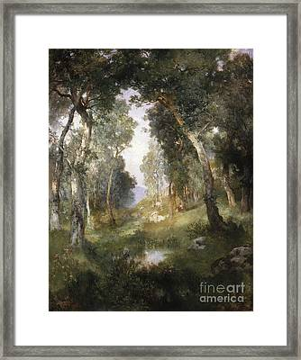 Forest Glade Framed Print by Thomas Moran