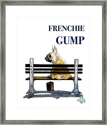 Forest Gump French Bulldog Caricature Art Print Framed Print