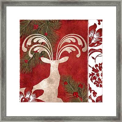 Forest Holiday Christmas Deer Framed Print