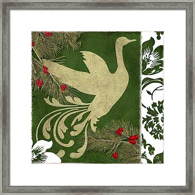 Forest Holiday Christmas Goose Framed Print by Mindy Sommers