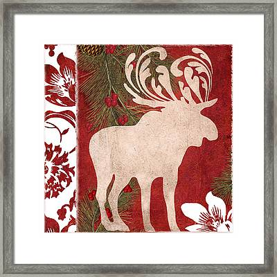 Forest Holiday Christmas Moose Framed Print