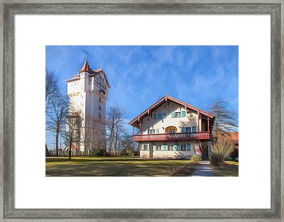 Forest House And Grafenwoehr Tower Framed Print