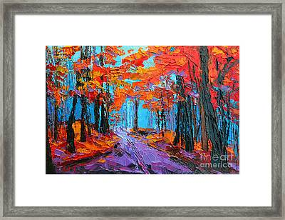 Autumn Forest, Purple Path, Modern Impressionist, Palette Knife Painting Framed Print by Patricia Awapara