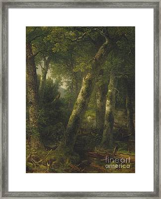 Forest In The Morning Light Framed Print by Asher Brown Durand