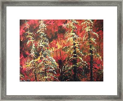 Framed Print featuring the painting Forest In The Red by Dan Whittemore