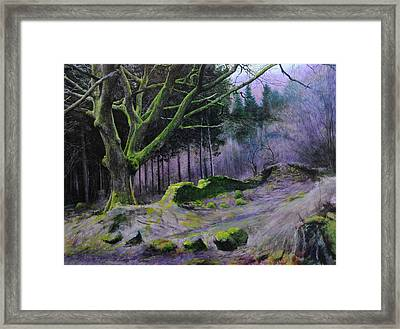 Framed Print featuring the painting Forest In Wales by Harry Robertson