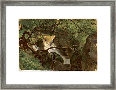 Forest Interior With A Waterfall Papigno Framed Print