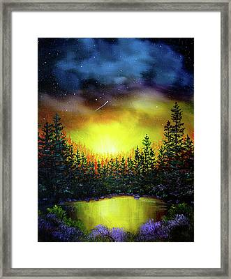 Forest Lake In Twilight Framed Print by Laura Iverson