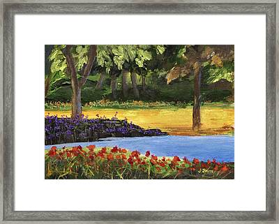 Framed Print featuring the painting Forest Lake by Jamie Frier