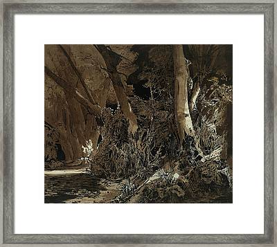 Forest Landscape With Flowing Water And Two Hunters Framed Print by Carl Blechen