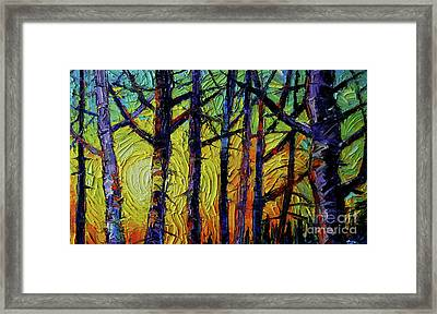 Forest Layers 1 - Modern Impressionist Palette Knives Oil Painting Framed Print