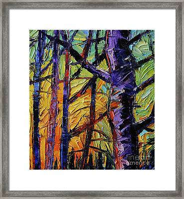 Forest Layers 2 - Modern Impressionist Palette Knives Oil Painting Framed Print by Mona Edulesco
