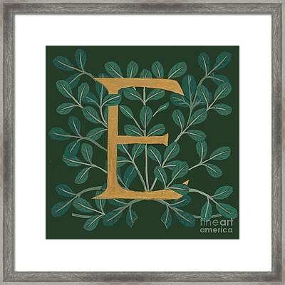 Forest Leaves Letter E Framed Print