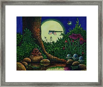 Framed Print featuring the painting Forest Never Sleeps Chapter- Full Moon by Michael Frank