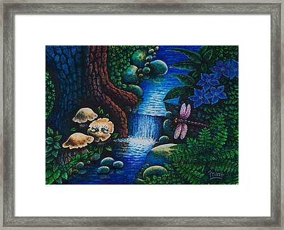 Framed Print featuring the painting Forest Never Sleeps Chapter- Midnight Rendezvous by Michael Frank