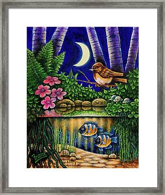 Framed Print featuring the painting Forest Never Sleeps Chapter Of Quarter Moon by Michael Frank