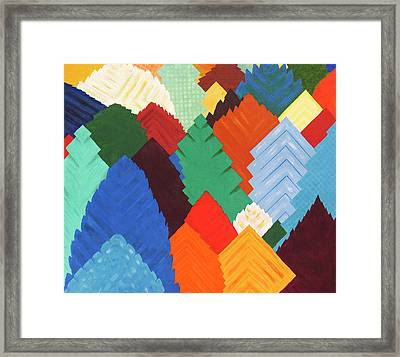 Forest Of Squares - Patchwork Forest Abstraction Framed Print