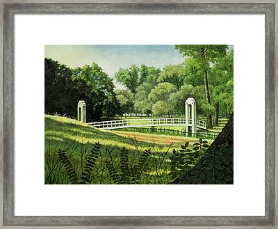 Framed Print featuring the painting Forest Park Footbridge by Michael Frank