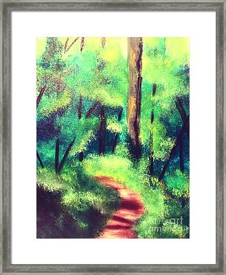 Framed Print featuring the painting Forest Path by Denise Tomasura