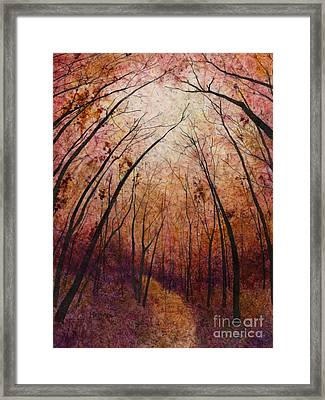 Framed Print featuring the painting Forest Path by Hailey E Herrera