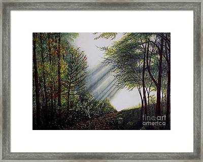 Framed Print featuring the painting Forest Pathway by Judy Kirouac