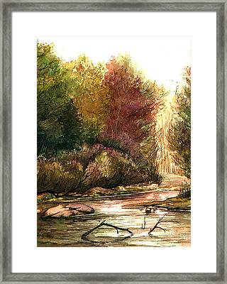 Framed Print featuring the painting Forest Puddle by Mikhail Savchenko