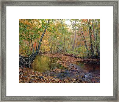 Forest River In Early Fall Framed Print