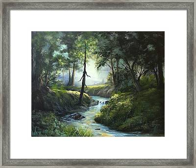 Forest River  Framed Print by Paintings by Justin Wozniak