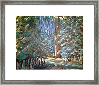 Framed Print featuring the painting Forest Visit by Steven Holder