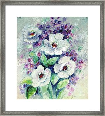 Forget-me-knots And Roses Framed Print by Hazel Holland