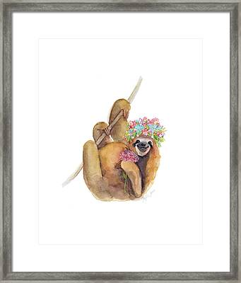 Forget Me Not Sloth Framed Print by Stephie Jones