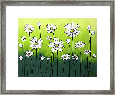 Framed Print featuring the painting Daisy Crazy by Teresa Wing
