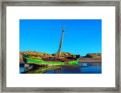 Forgotten Green Fishing Boat Framed Print by Garry Gay