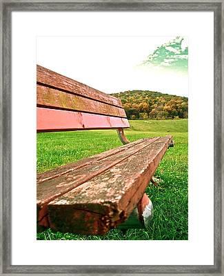 Forgotten Park Bench Framed Print by Jennifer Addington