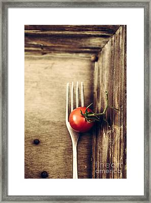 Fork And Tomato Framed Print by Mythja Photography