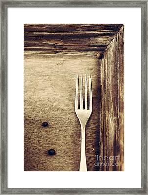 Fork And Wood Framed Print by Mythja Photography