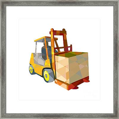 Forklift Truck Materials Handling Box Low Polygon Framed Print by Aloysius Patrimonio