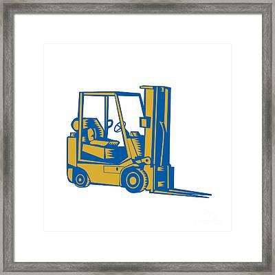 Forklift Truck Side Woodcut Framed Print