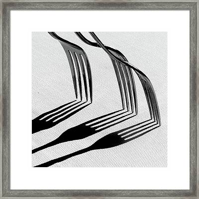 Forks With Shadows Framed Print by Photo by DANIELA NOBILI