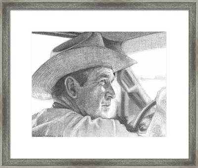 Former Pres. George W. Bush Wearing A Cowboy Hat Framed Print by Michelle Flanagan