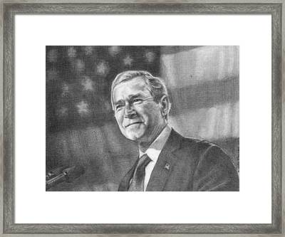 Former Pres. George W. Bush With An American Flag Framed Print by Michelle Flanagan
