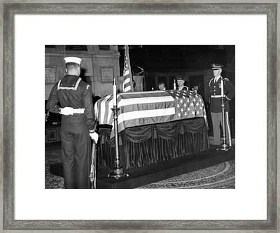 Former President Herbert Hoovers Flag Framed Print by Everett