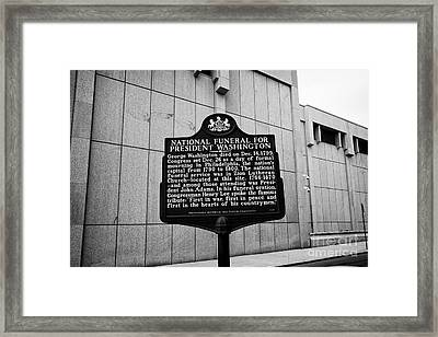 former site of zion lutheran church national funeral for president washington plaque Philadelphia US Framed Print