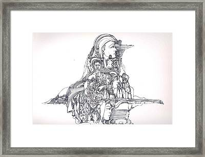Framed Print featuring the drawing Forms In The Head by Padamvir Singh