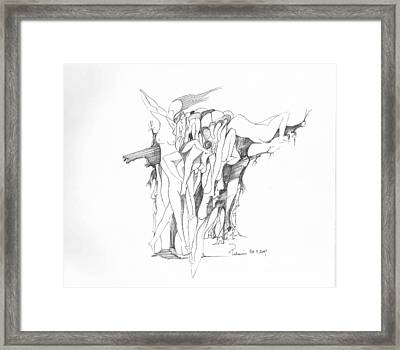 Framed Print featuring the drawing Forms by Padamvir Singh