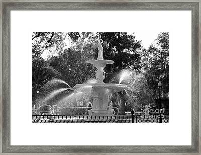 Forsyth Park Fountain In Black And White Framed Print by Carol Groenen