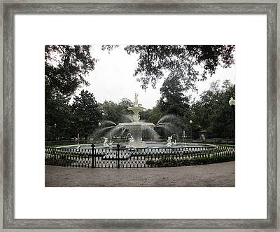 Forsyth Park Fountain In Fall     Framed Print