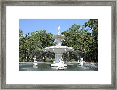 Forsyth Park Fountain With Blue Sky Framed Print by Carol Groenen